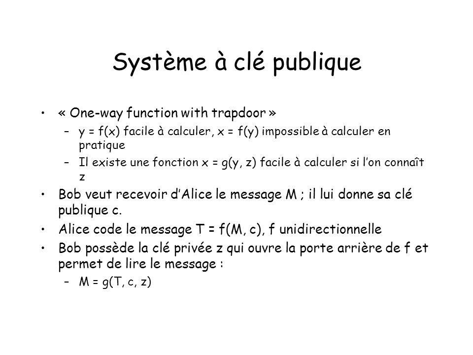 Système à clé publique « One-way function with trapdoor » –y = f(x) facile à calculer, x = f(y) impossible à calculer en pratique –Il existe une fonct