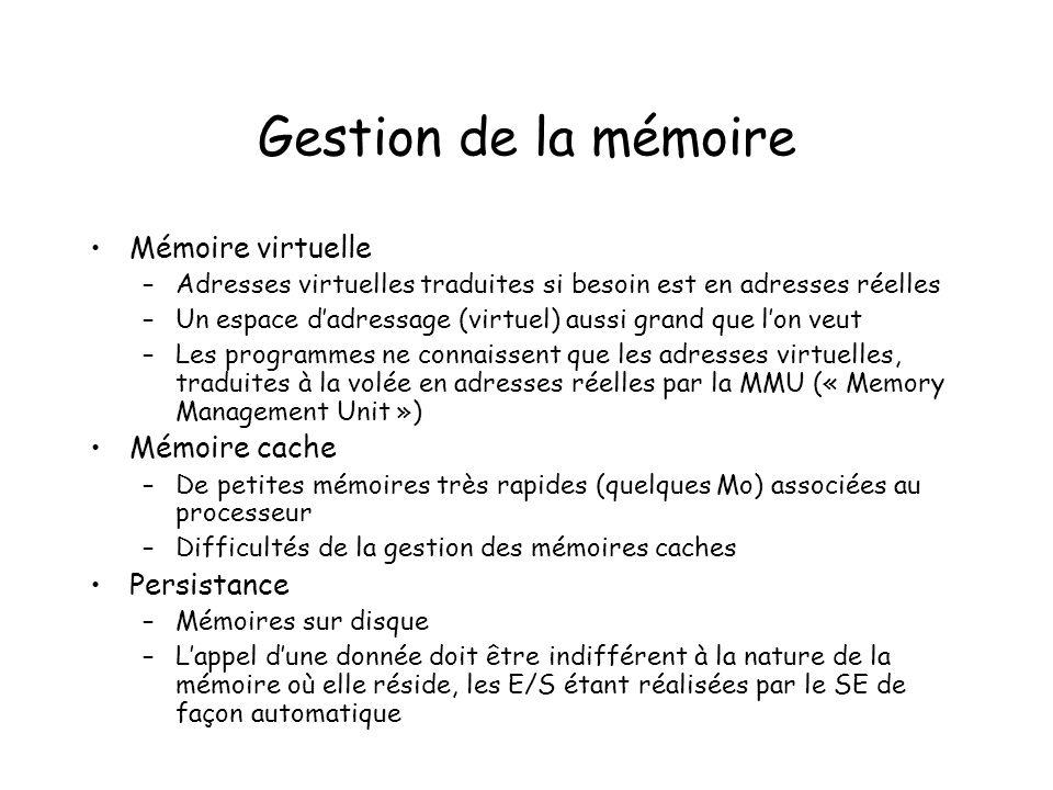 Gestion de la mémoire Mémoire virtuelle –Adresses virtuelles traduites si besoin est en adresses réelles –Un espace dadressage (virtuel) aussi grand q