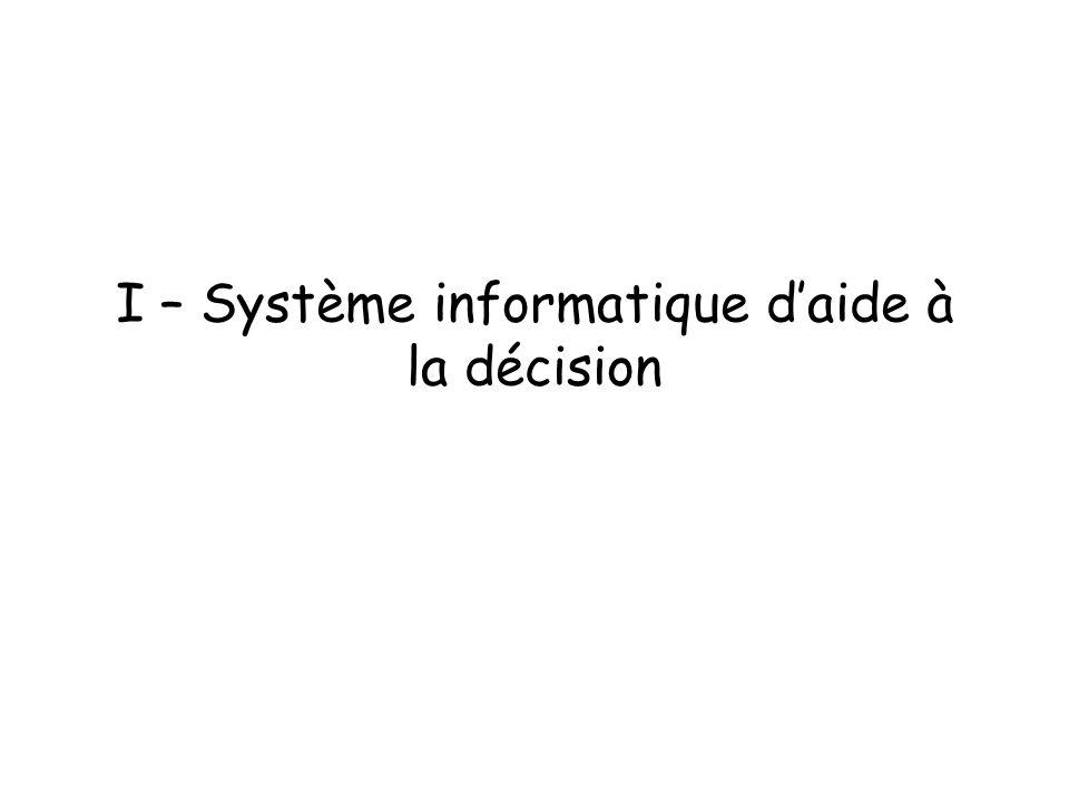 I – Système informatique daide à la décision