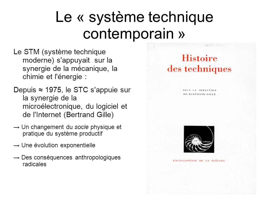 Le « système technique contemporain » Le STM (système technique moderne) s appuyait sur la synergie de la mécanique, la chimie et l énergie : Depuis 1975, le STC s appuie sur la synergie de la microélectronique, du logiciel et de l Internet (Bertrand Gille) Un changement du socle physique et pratique du système productif Une évolution exponentielle Des conséquences anthropologiques radicales