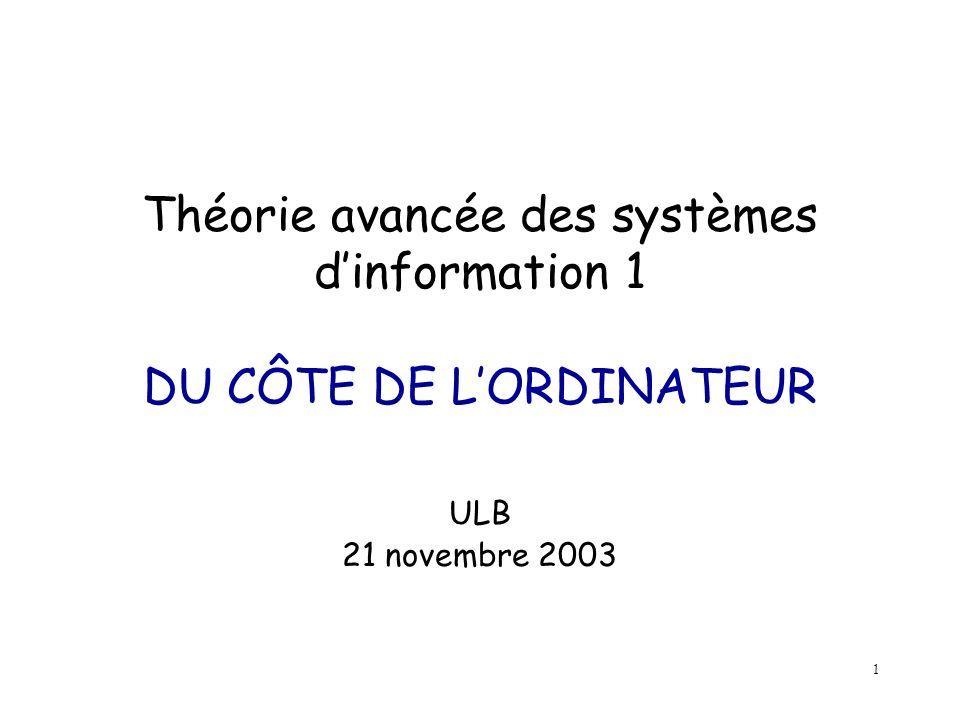 1 Théorie avancée des systèmes dinformation 1 DU CÔTE DE LORDINATEUR ULB 21 novembre 2003