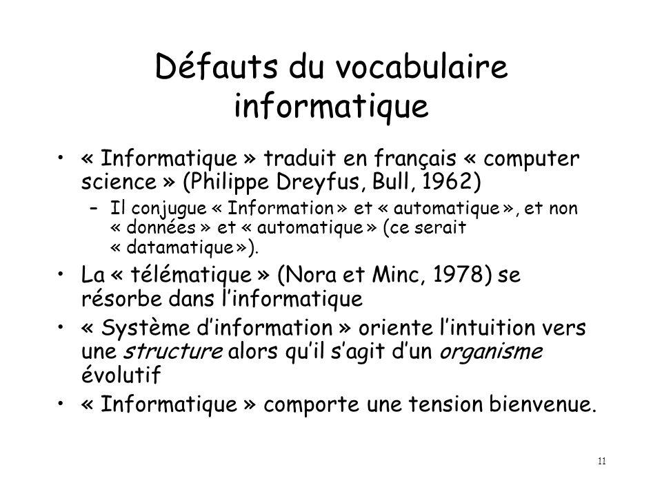 11 Défauts du vocabulaire informatique « Informatique » traduit en français « computer science » (Philippe Dreyfus, Bull, 1962) –Il conjugue « Information » et « automatique », et non « données » et « automatique » (ce serait « datamatique »).