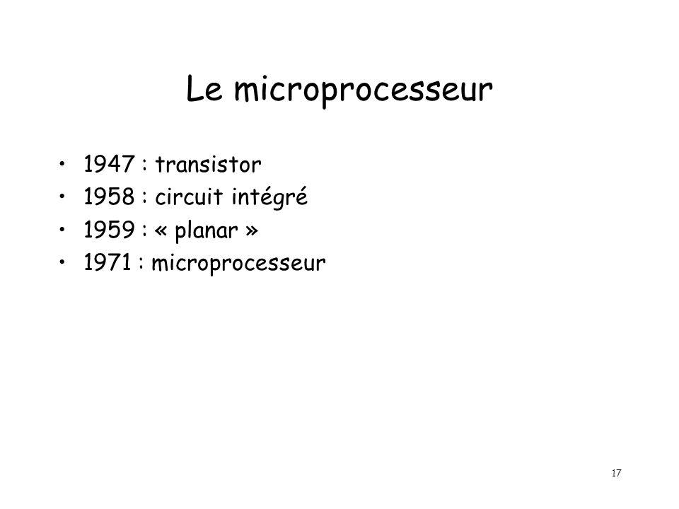 17 Le microprocesseur 1947 : transistor 1958 : circuit intégré 1959 : « planar » 1971 : microprocesseur
