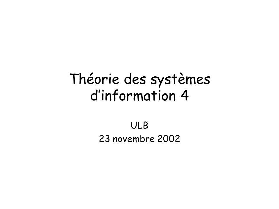 Théorie des systèmes dinformation 4 ULB 23 novembre 2002
