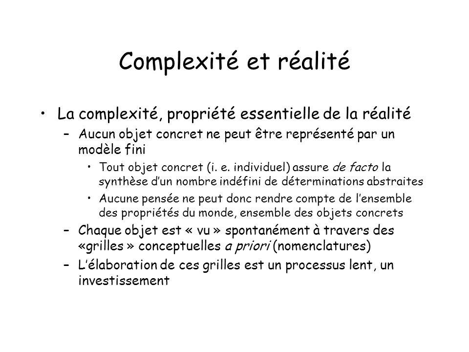 Complexité et réalité La complexité, propriété essentielle de la réalité –Aucun objet concret ne peut être représenté par un modèle fini Tout objet concret (i.