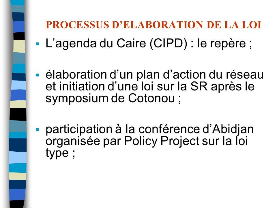 PROCESSUS DELABORATION DE LA LOI Lagenda du Caire (CIPD) : le repère ; élaboration dun plan daction du réseau et initiation dune loi sur la SR après l