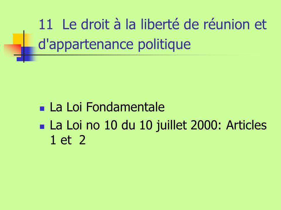 11 Le droit à la liberté de réunion et d'appartenance politique La Loi Fondamentale La Loi no 10 du 10 juillet 2000: Articles 1 et 2