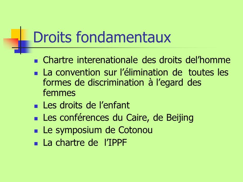 Droits fondamentaux Chartre interenationale des droits delhomme La convention sur lélimination de toutes les formes de discrimination à legard des fem