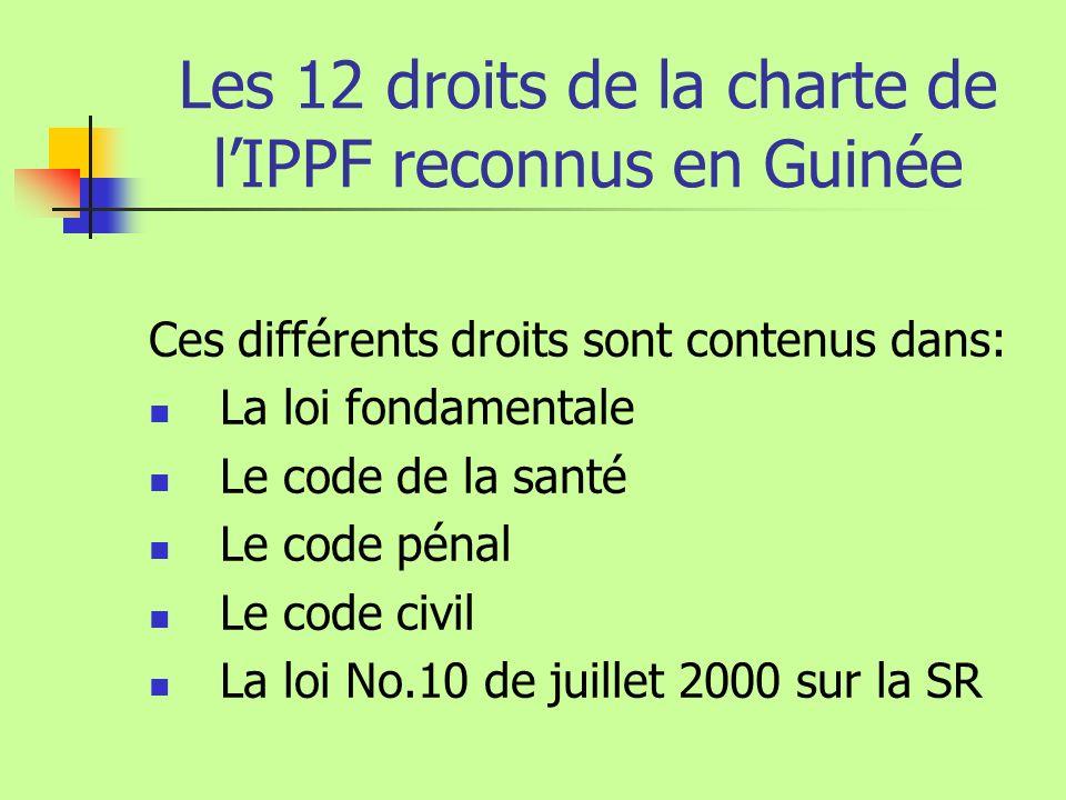 Les 12 droits de la charte de lIPPF reconnus en Guinée Ces différents droits sont contenus dans: La loi fondamentale Le code de la santé Le code pénal