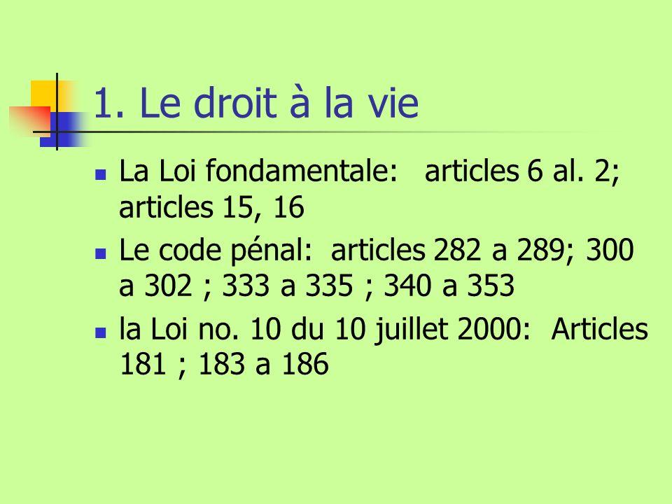 1. Le droit à la vie La Loi fondamentale: articles 6 al. 2; articles 15, 16 Le code pénal: articles 282 a 289; 300 a 302 ; 333 a 335 ; 340 a 353 la Lo
