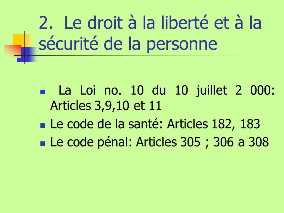 2. Le droit à la liberté et à la sécurité de la personne La Loi no. 10 du 10 juillet 2 000: Articles 3,9,10 et 11 Le code de la santé: Articles 182, 1
