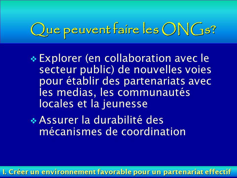 Que peuvent faire les ONGs? Explorer (en collaboration avec le secteur public) de nouvelles voies pour établir des partenariats avec les medias, les c