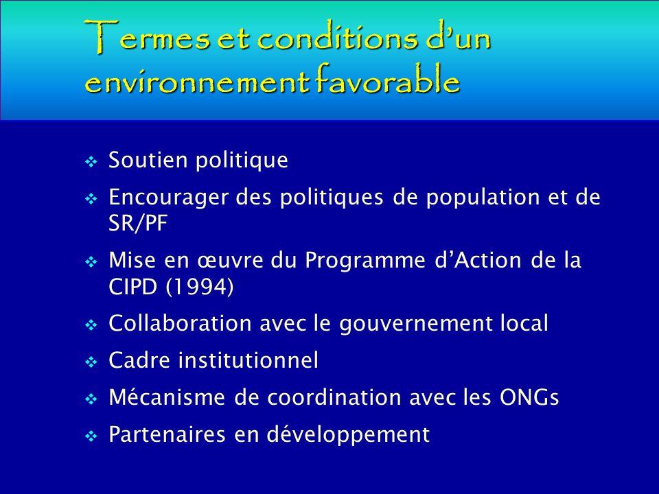 Termes et conditions dun environnement favorable Soutien politique Encourager des politiques de population et de SR/PF Mise en œuvre du Programme dAct