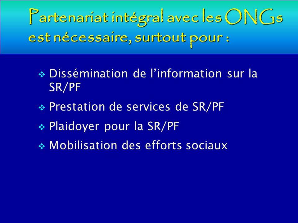 Partenariat intégral avec les ONGs est nécessaire, surtout pour : Dissémination de linformation sur la SR/PF Prestation de services de SR/PF Plaidoyer