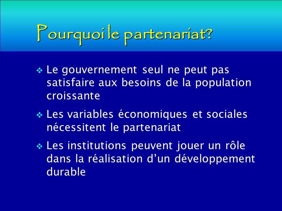 Pourquoi le partenariat? Le gouvernement seul ne peut pas satisfaire aux besoins de la population croissante Les variables économiques et sociales néc