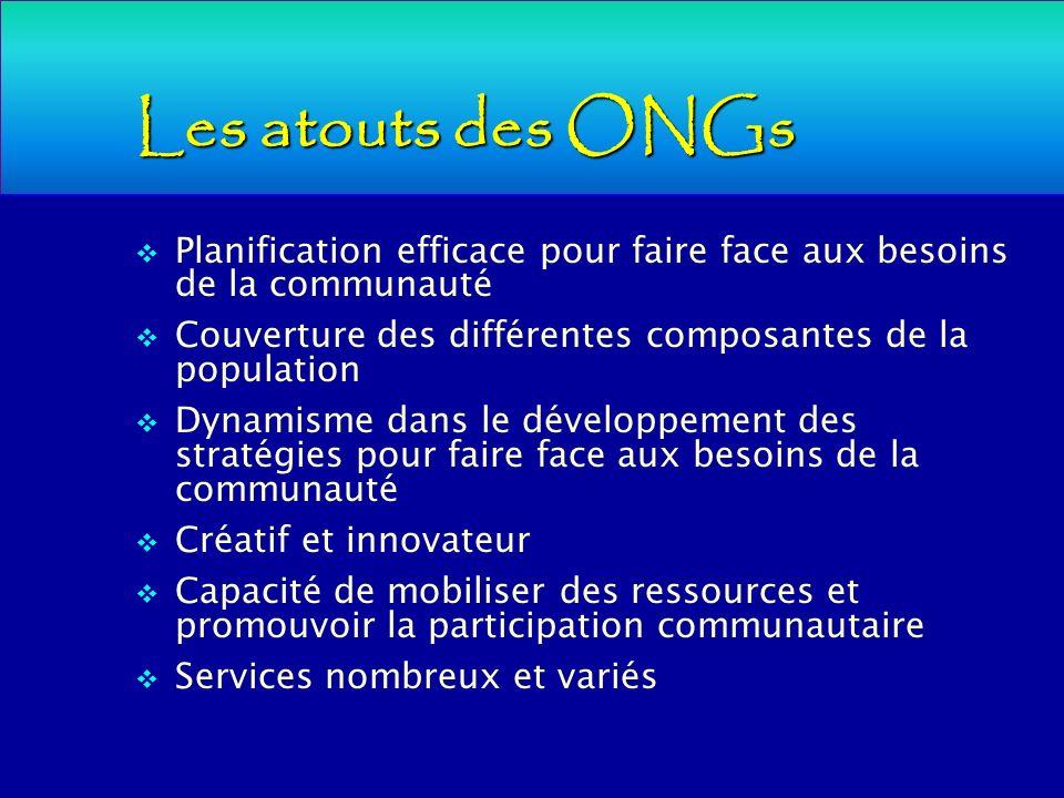 Les atouts des ONGs Planification efficace pour faire face aux besoins de la communauté Couverture des différentes composantes de la population Dynami