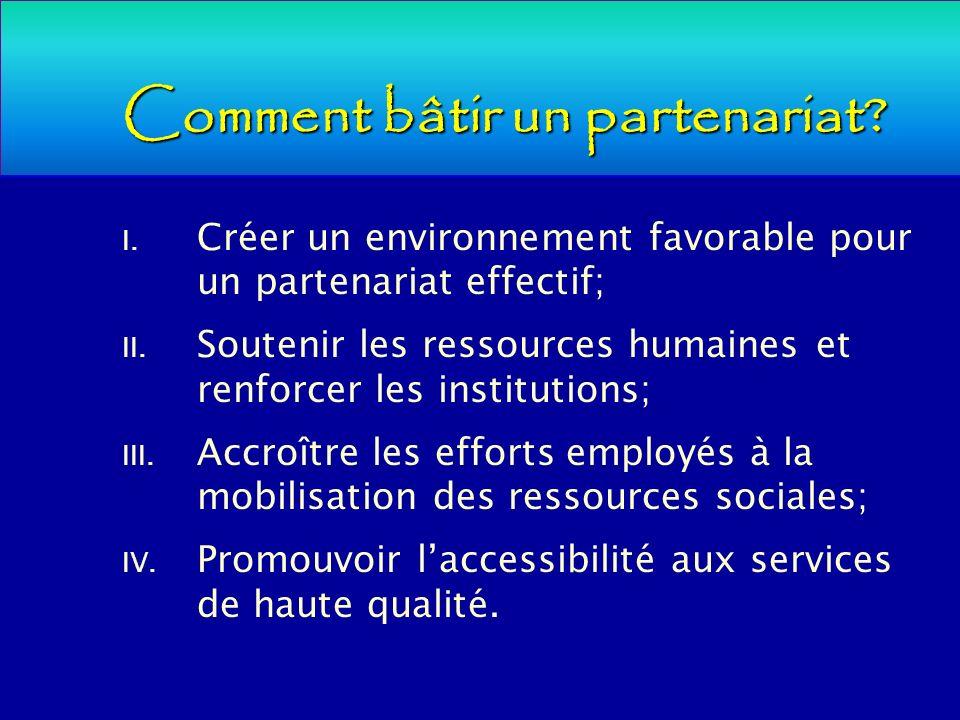 Comment bâtir un partenariat? I. Créer un environnement favorable pour un partenariat effectif; II. Soutenir les ressources humaines et renforcer les