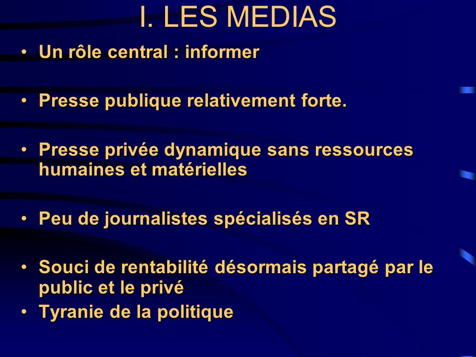 3.Ce que peuvent faire les partenaires (institutions nat/inter, réseaux, ONG, agences de coopération, etc.) - Informer les médias, les associer à leurs activités ; - encourager à valoriser linformation sur la SR ; - identifier et encourager les journalistes qui travaillent sur la SR ; - contribuer à la formation des journalistes chargés de la SR dans les rédactions (bourses, séminaires, etc.) ; - Informer les médias, les associer à leurs activités ; - encourager à valoriser linformation sur la SR ; - identifier et encourager les journalistes qui travaillent sur la SR ; - contribuer à la formation des journalistes chargés de la SR dans les rédactions (bourses, séminaires, etc.) ;