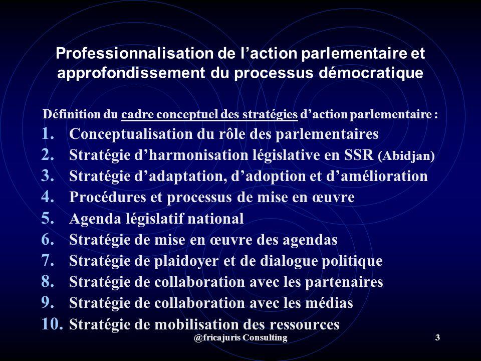 @fricajuris Consulting3 Professionnalisation de laction parlementaire et approfondissement du processus démocratique Définition du cadre conceptuel des stratégies daction parlementaire : 1.