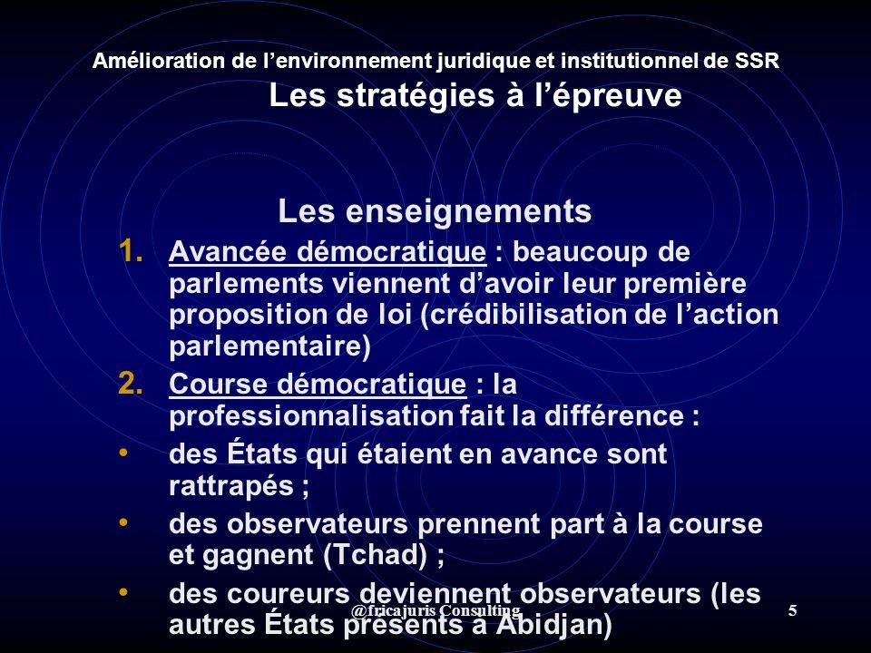 @fricajuris Consulting5 Amélioration de lenvironnement juridique et institutionnel de SSR Les stratégies à lépreuve Les enseignements 1.