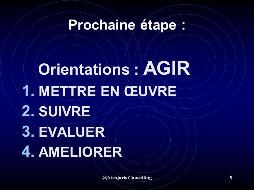 @fricajuris Consulting9 Prochaine étape : Orientations : AGIR 1. METTRE EN ŒUVRE 2. SUIVRE 3. EVALUER 4. AMELIORER