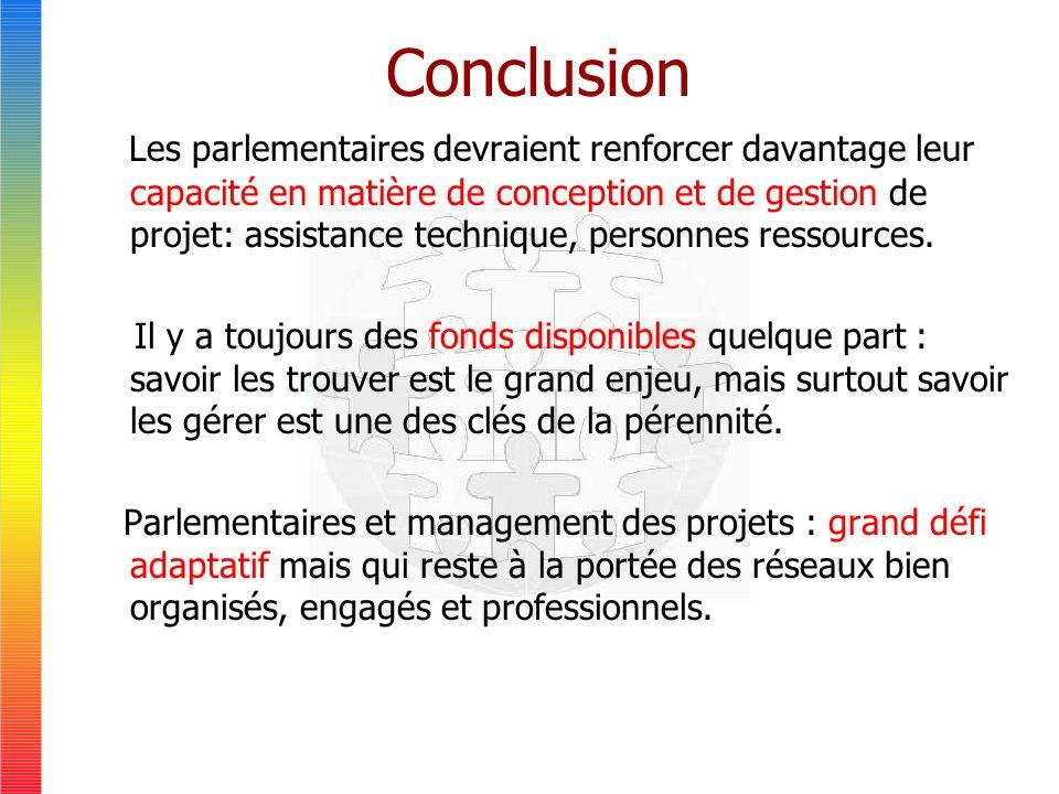 Conclusion Les parlementaires devraient renforcer davantage leur capacité en matière de conception et de gestion de projet: assistance technique, personnes ressources.