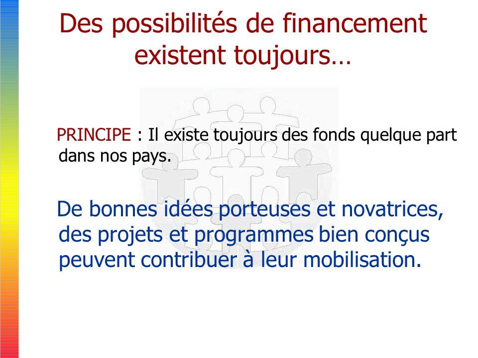 Des possibilités de financement existent toujours… PRINCIPE : Il existe toujours des fonds quelque part dans nos pays.