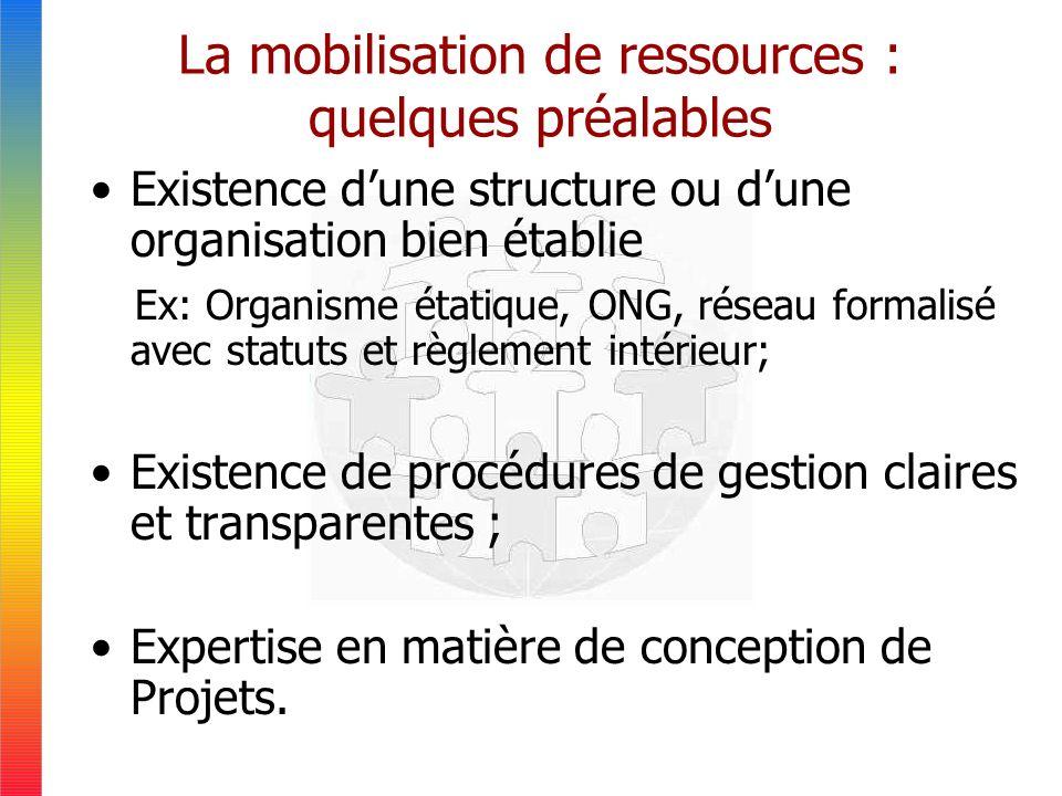 La mobilisation de ressources : quelques préalables Existence dune structure ou dune organisation bien établie Ex: Organisme étatique, ONG, réseau formalisé avec statuts et règlement intérieur; Existence de procédures de gestion claires et transparentes ; Expertise en matière de conception de Projets.