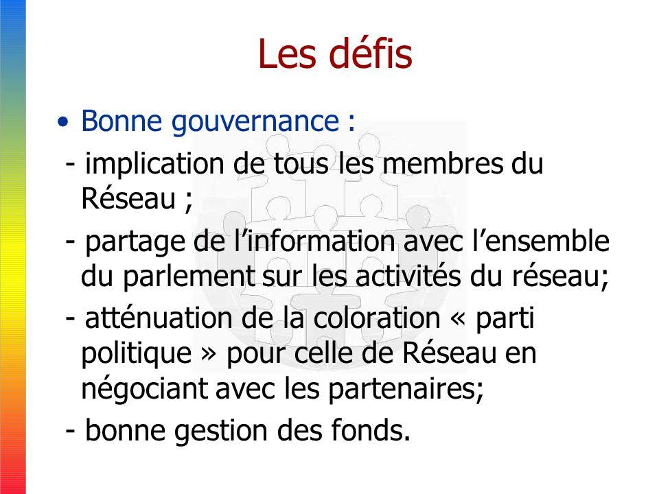 Les défis Bonne gouvernance : - implication de tous les membres du Réseau ; - partage de linformation avec lensemble du parlement sur les activités du réseau; - atténuation de la coloration « parti politique » pour celle de Réseau en négociant avec les partenaires; - bonne gestion des fonds.