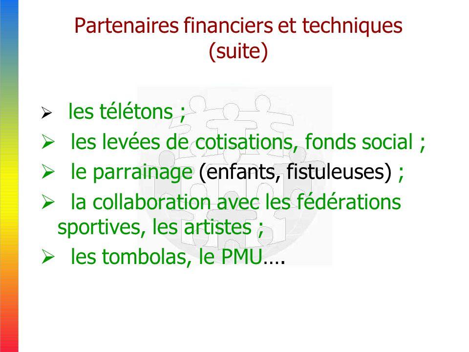 Partenaires financiers et techniques (suite) les télétons ; les levées de cotisations, fonds social ; le parrainage (enfants, fistuleuses) ; la collaboration avec les fédérations sportives, les artistes ; les tombolas, le PMU….