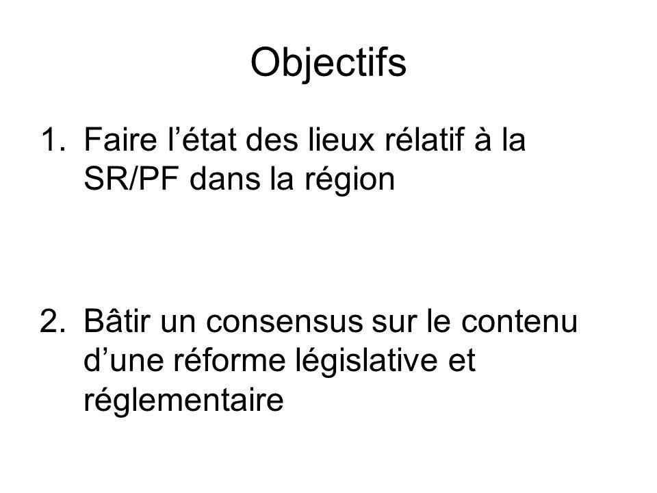 Objectifs 1.Faire létat des lieux rélatif à la SR/PF dans la région 2.Bâtir un consensus sur le contenu dune réforme législative et réglementaire