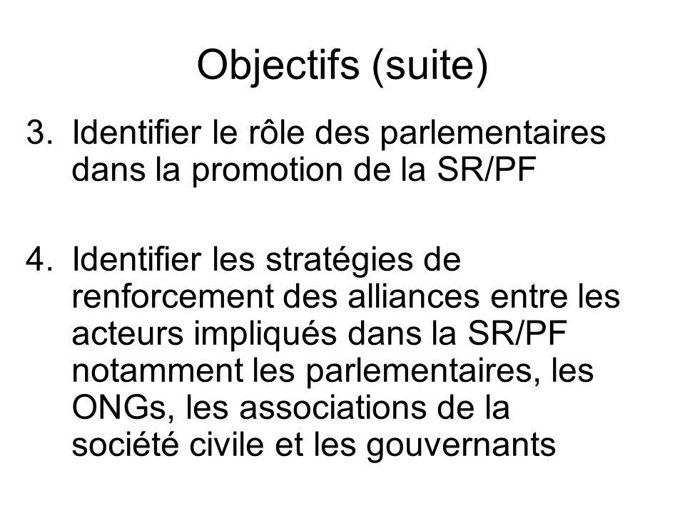 Objectifs (suite) 3.Identifier le rôle des parlementaires dans la promotion de la SR/PF 4.Identifier les stratégies de renforcement des alliances entre les acteurs impliqués dans la SR/PF notamment les parlementaires, les ONGs, les associations de la société civile et les gouvernants