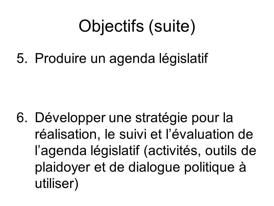 Objectifs (suite) 5.Produire un agenda législatif 6.Développer une stratégie pour la réalisation, le suivi et lévaluation de lagenda législatif (activités, outils de plaidoyer et de dialogue politique à utiliser)