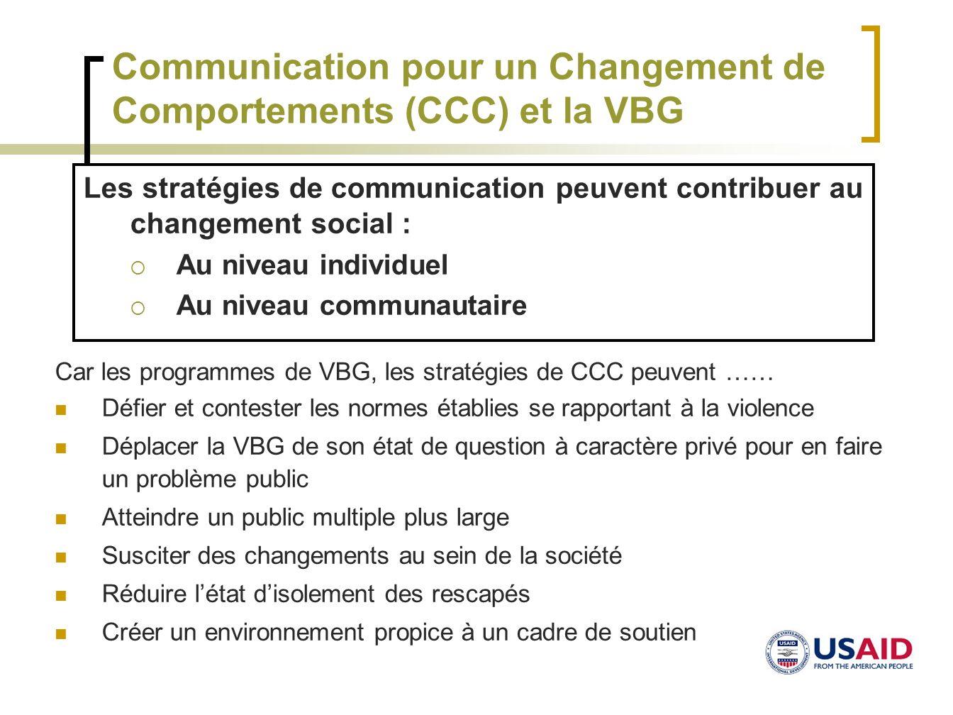 Communication pour un Changement de Comportements (CCC) et la VBG Car les programmes de VBG, les stratégies de CCC peuvent …… Défier et contester les
