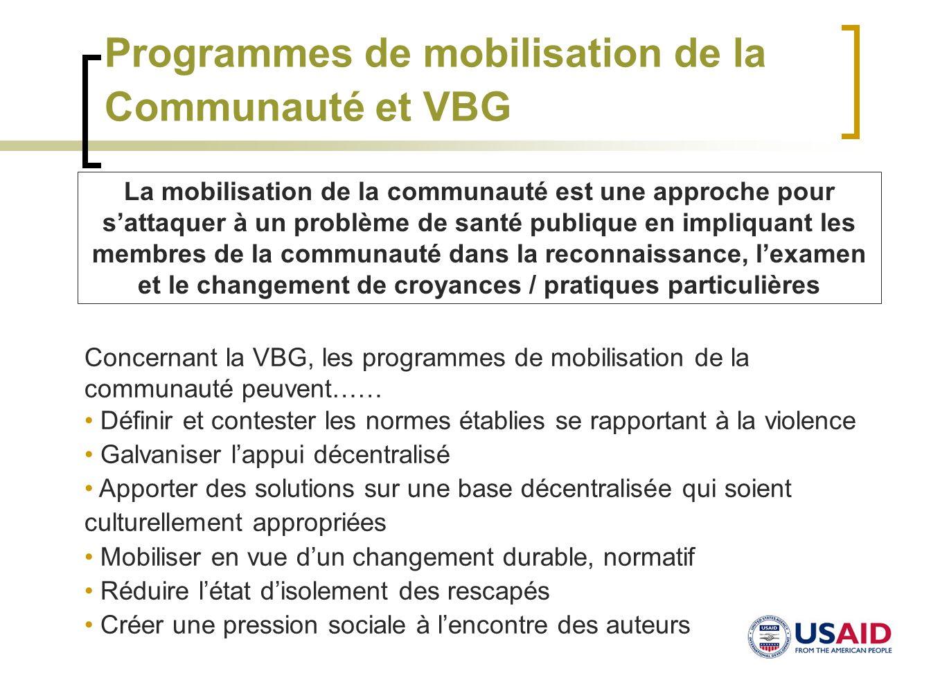 Mobilisation de la Communauté et VBG: Exemple de programme Projet pour la Prévention de la Violence au Foyer : Elévation des Voix, Ouganda Evaluation de la Communauté Sensibilisation Etablissement de réseaux de soutien Action dintégration contre la VF (Violence au Foyer)