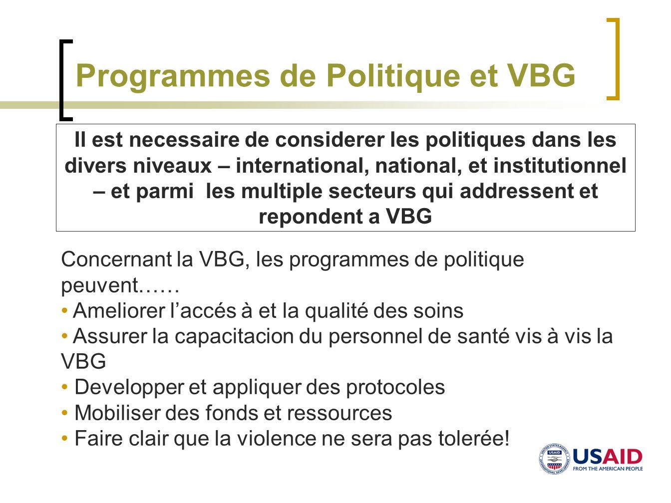 Programmes de Politique et VBG Concernant la VBG, les programmes de politique peuvent…… Ameliorer laccés à et la qualité des soins Assurer la capacita