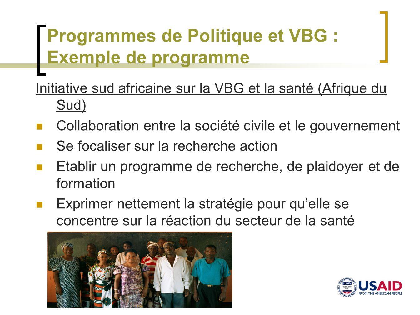 Programmes de Politique et VBG : Exemple de programme Initiative sud africaine sur la VBG et la santé (Afrique du Sud) Collaboration entre la société