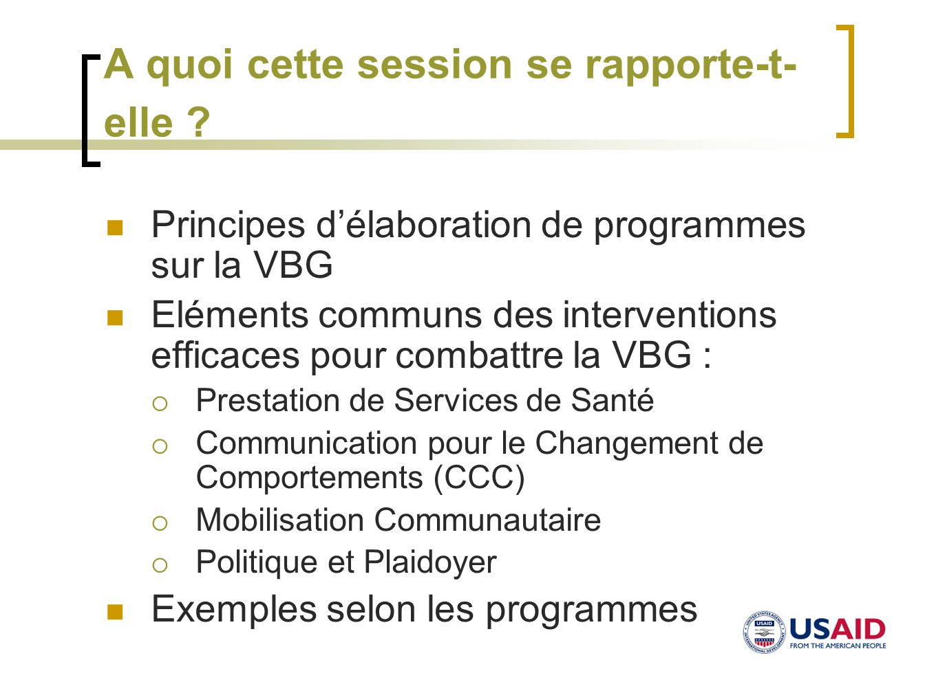 A quoi cette session se rapporte-t- elle ? Principes délaboration de programmes sur la VBG Eléments communs des interventions efficaces pour combattre
