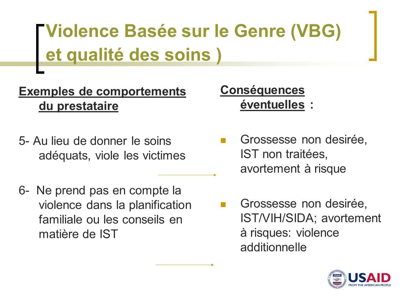 Violence Basée sur le Genre (VBG) et qualité des soins ) Exemples de comportements du prestataire 5- Au lieu de donner le soins adéquats, viole les vi