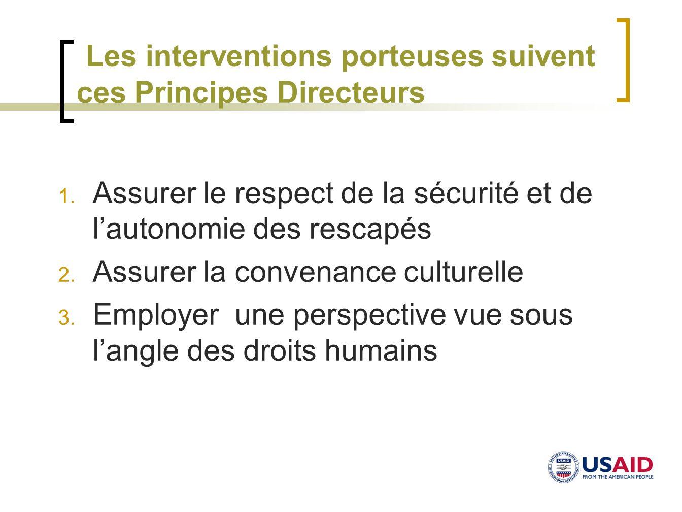Les interventions porteuses suivent ces Principes Directeurs 1. Assurer le respect de la sécurité et de lautonomie des rescapés 2. Assurer la convenan