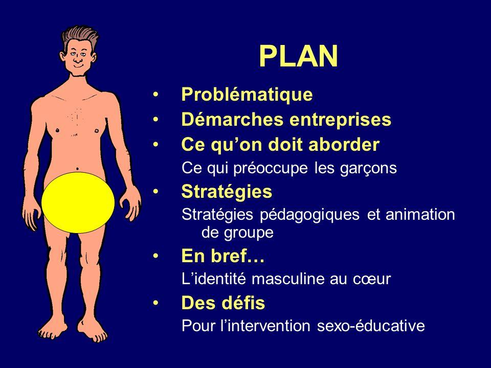 PLAN Problématique Démarches entreprises Ce quon doit aborder Ce qui préoccupe les garçons Stratégies Stratégies pédagogiques et animation de groupe E