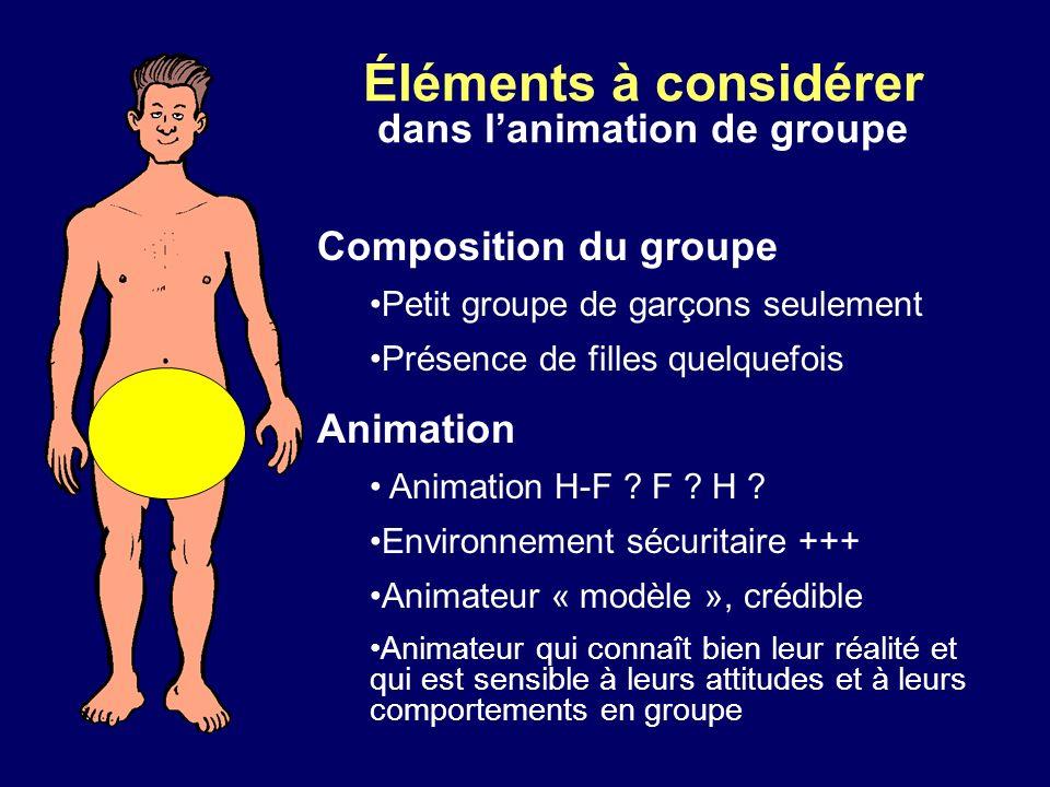 Éléments à considérer dans lanimation de groupe Composition du groupe Petit groupe de garçons seulement Présence de filles quelquefois Animation Anima