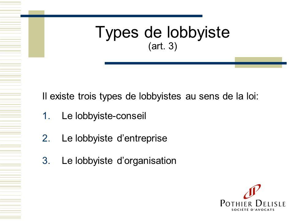 Types de lobbyiste (art. 3) Il existe trois types de lobbyistes au sens de la loi: 1.Le lobbyiste-conseil 2.Le lobbyiste dentreprise 3.Le lobbyiste do