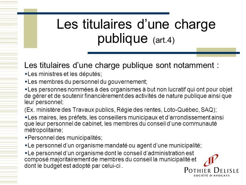 Les titulaires dune charge publique (art.4) Les titulaires dune charge publique sont notamment : Les ministres et les députés; Les membres du personne