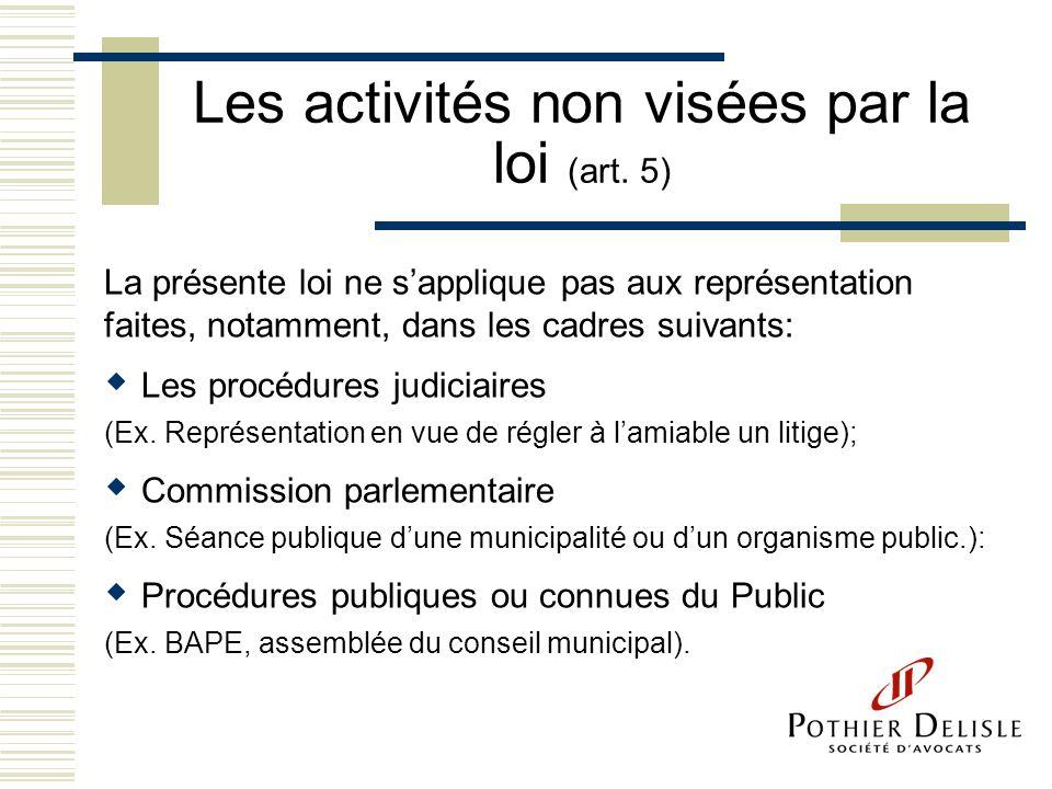Les activités non visées par la loi (art. 5) La présente loi ne sapplique pas aux représentation faites, notamment, dans les cadres suivants: Les proc