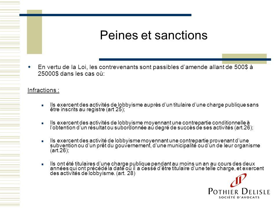 Peines et sanctions En vertu de la Loi, les contrevenants sont passibles damende allant de 500$ à 25000$ dans les cas où: Infractions : Ils exercent d