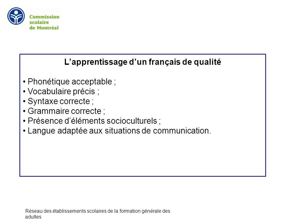 Lapprentissage dun français de qualité Phonétique acceptable ; Vocabulaire précis ; Syntaxe correcte ; Grammaire correcte ; Présence déléments socioculturels ; Langue adaptée aux situations de communication.