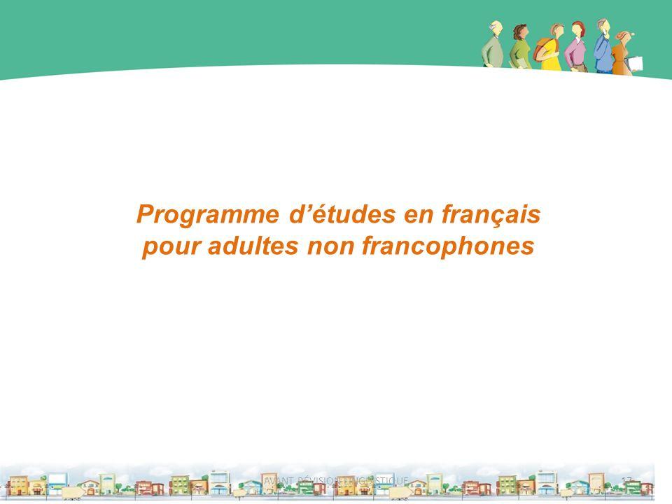 Programme détudes en français pour adultes non francophones 17AVANT RÉVISION LINGUISTIQUE