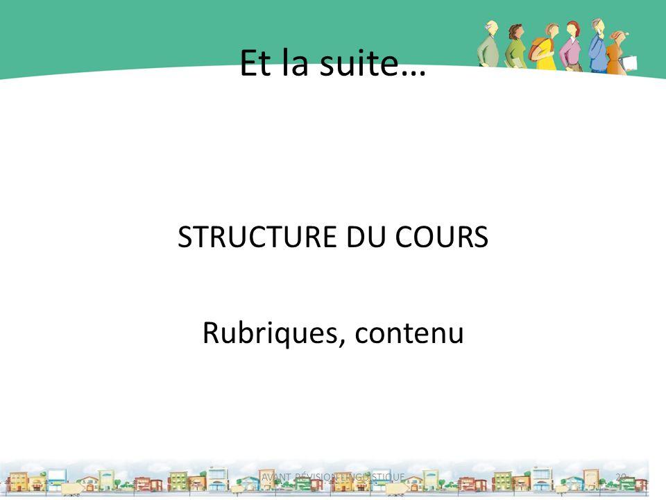 Et la suite… STRUCTURE DU COURS Rubriques, contenu AVANT RÉVISION LINGUISTIQUE20