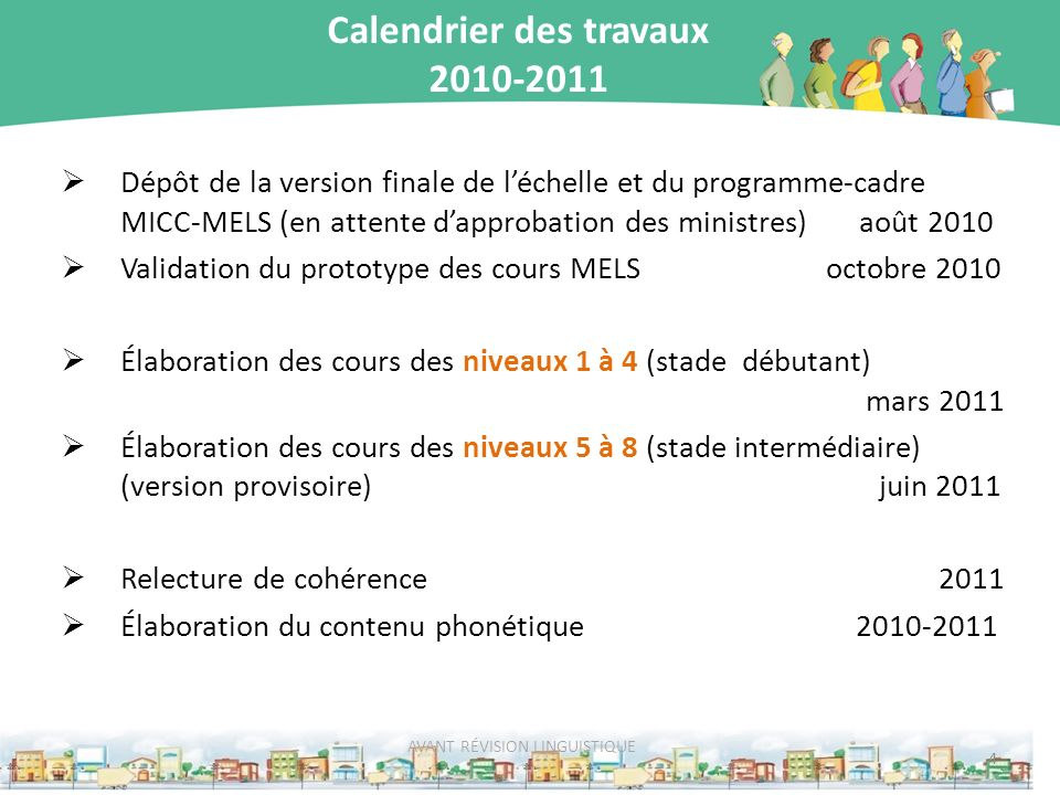 Calendrier des travaux 2010-2011 Dépôt de la version finale de léchelle et du programme-cadre MICC-MELS (en attente dapprobation des ministres) août 2